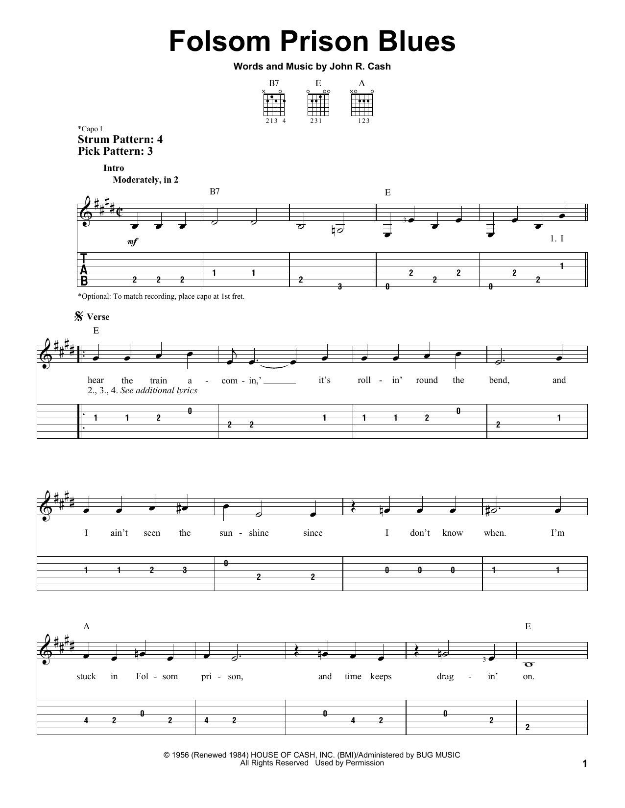 Tablature guitare Folsom Prison Blues de Johnny Cash - Tablature guitare facile