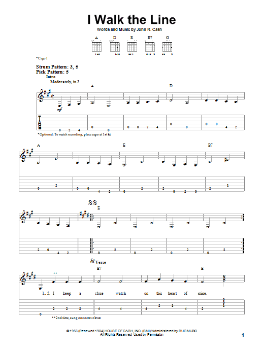 Guitar Instructor I Walk The Line by Johnny Cash - Easy Guitar Tab