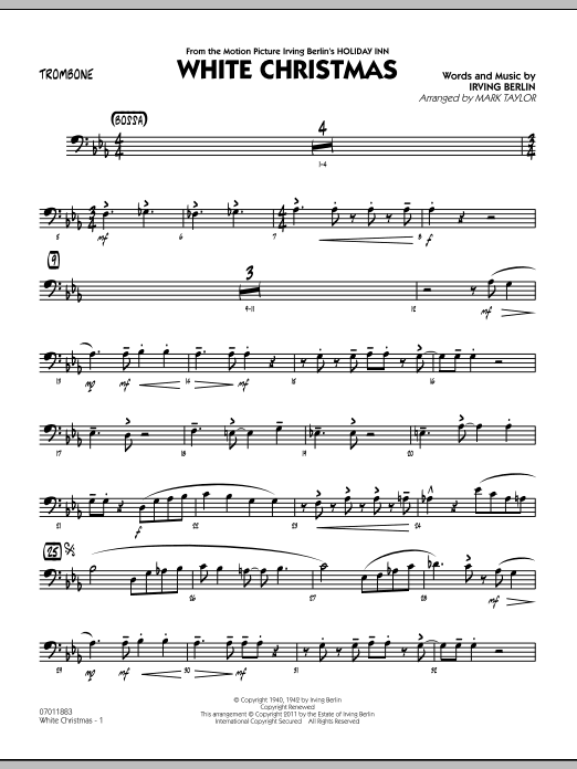 page one of White Christmas - TromboneASALTTEXT