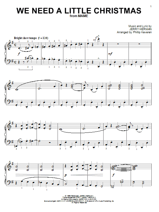 Need A Little Christmas.We Need A Little Christmas Piano Solo Print Sheet Music Now