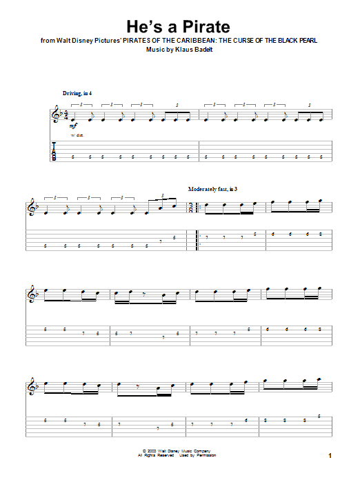 Hes A Pirate Sheet Music Klaus Badelt Guitar Tab Play Along