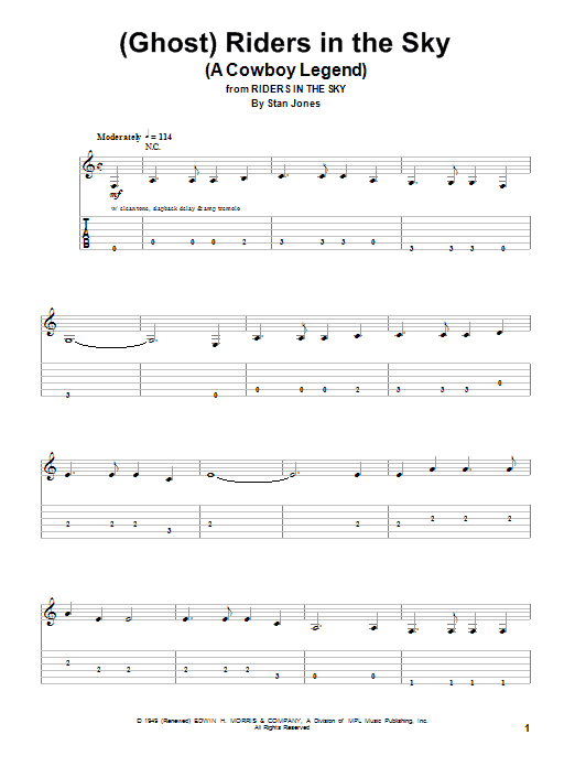 Ghost) Riders In The Sky (A Cowboy Legend) sheet music by Johnny ...