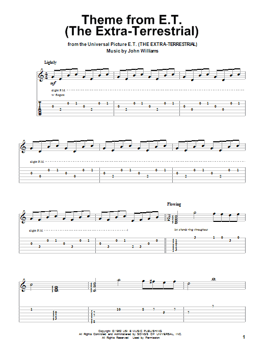 Theme From E.T. (The Extra-Terrestrial) (Guitar Tab (Single Guitar))