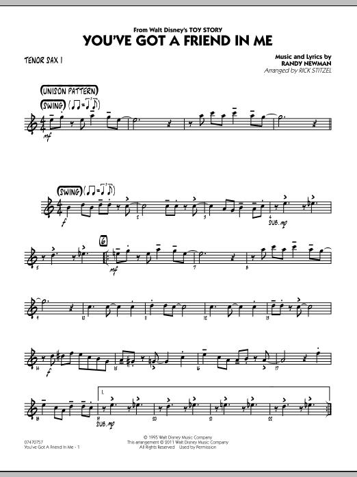 You've Got A Friend In Me (Wheezy's Version) (from Toy Story 2) (arr. Rick Stitzel) - Tenor Sax 1 (Jazz Ensemble)