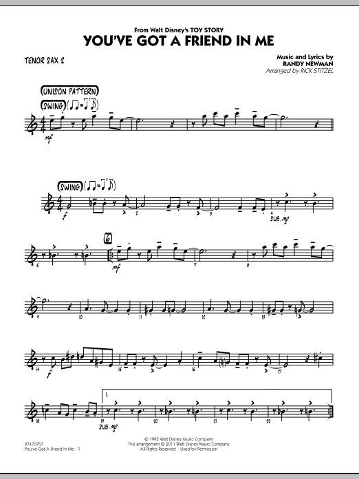 You've Got A Friend In Me (Wheezy's Version) (from Toy Story 2) (arr. Rick Stitzel) - Tenor Sax 2 (Jazz Ensemble)
