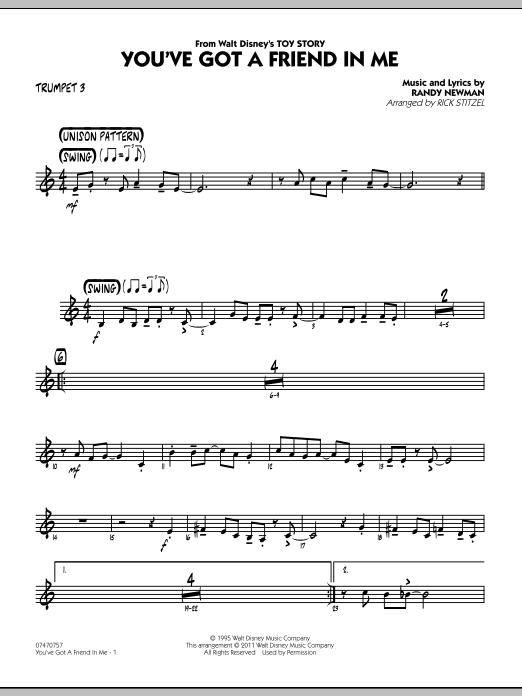 You've Got A Friend In Me (Wheezy's Version) (from Toy Story 2) (arr. Rick Stitzel) - Trumpet 3 (Jazz Ensemble)