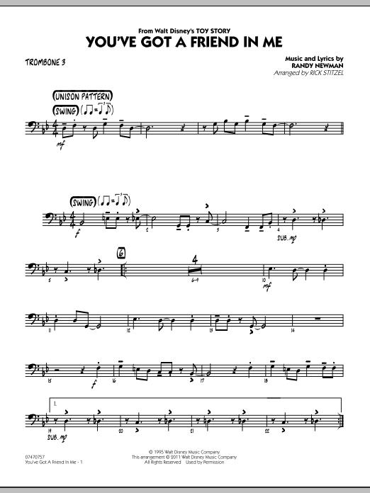 You've Got A Friend In Me (Wheezy's Version) (from Toy Story 2) (arr. Rick Stitzel) - Trombone 3 (Jazz Ensemble)