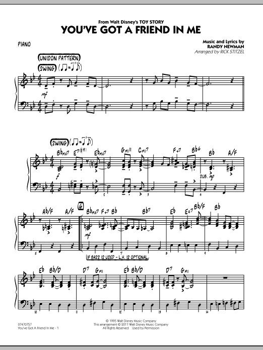 You've Got A Friend In Me (Wheezy's Version) (from Toy Story 2) (arr. Rick Stitzel) - Piano (Jazz Ensemble)