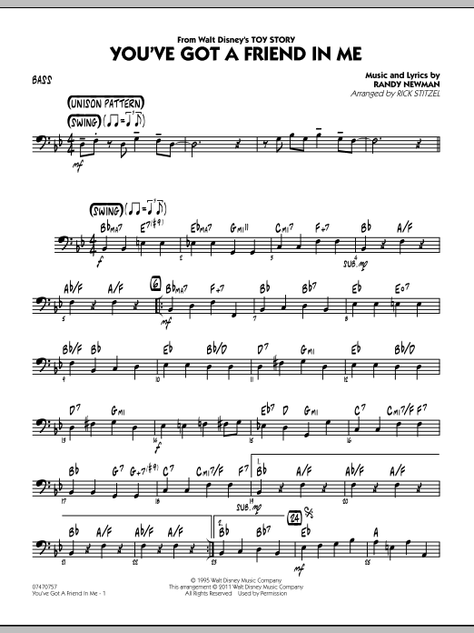 You've Got A Friend In Me (Wheezy's Version) (from Toy Story 2) (arr. Rick Stitzel) - Bass (Jazz Ensemble)