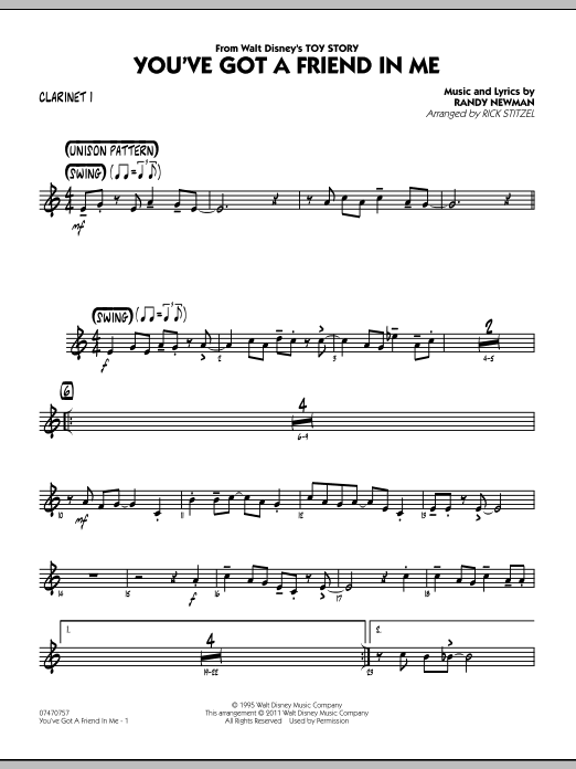 You've Got A Friend In Me (Wheezy's Version) (from Toy Story 2) (arr. Rick Stitzel) - Bb Clarinet 1 (Jazz Ensemble)