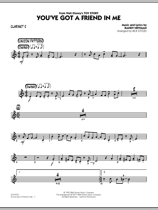 You've Got A Friend In Me (Wheezy's Version) (from Toy Story 2) (arr. Rick Stitzel) - Bb Clarinet 2 (Jazz Ensemble)
