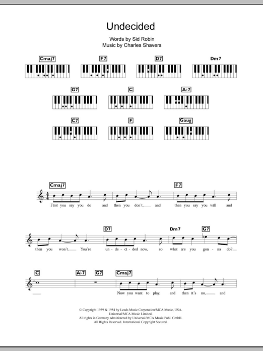 Undecided Sheet Music