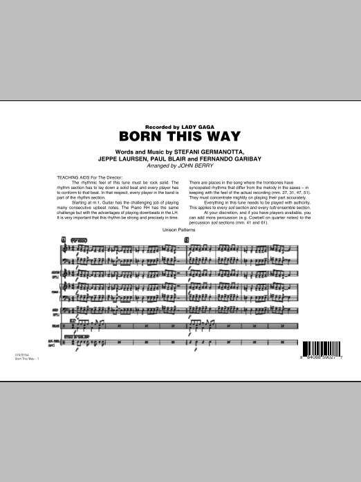 Born This Way (COMPLETE) sheet music for jazz band by John Berry, Fernando Garibay, Jeppe Laursen, Lady GaGa and Paul Blair. Score Image Preview.