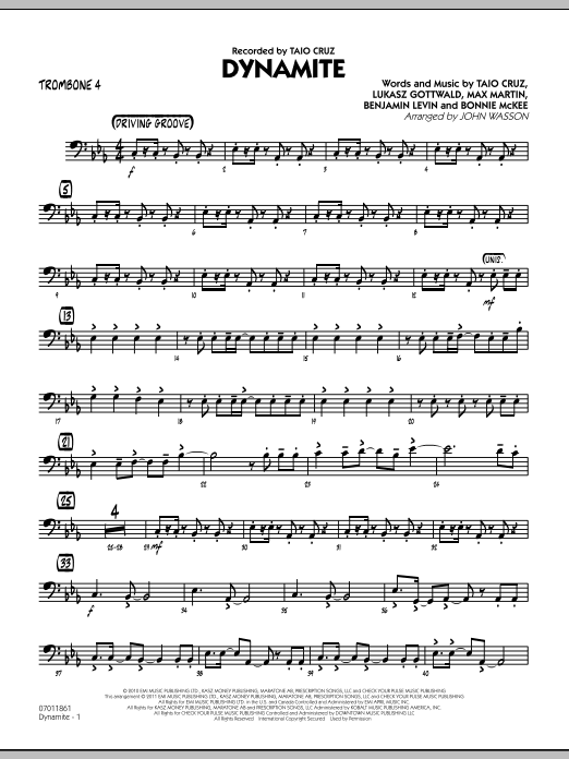 Dynamite - Trombone 4 (Jazz Ensemble)