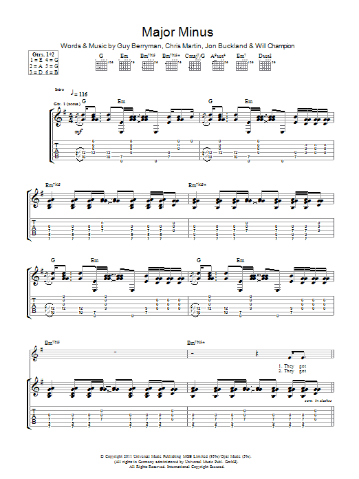 Major Minus by Coldplay - Guitar Tab - Guitar Instructor