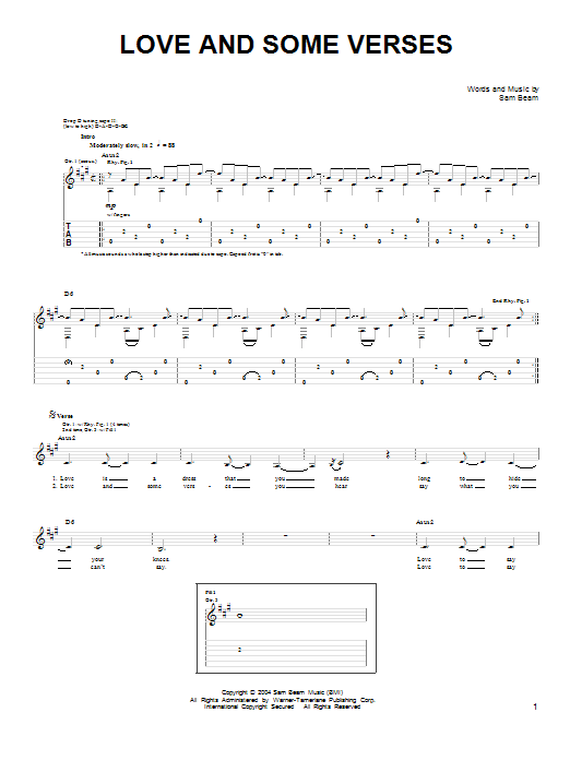 Tablature guitare Love And Some Verses de Iron & Wine - Tablature guitare facile