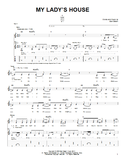 Tablature guitare My Lady's House de Iron & Wine - Tablature guitare facile