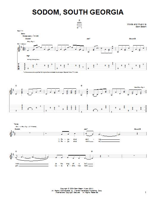 Tablature guitare Sodom, South Georgia de Iron & Wine - Tablature guitare facile