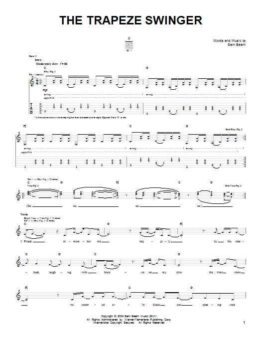 Tablature guitare The Trapeze Swinger de Iron & Wine - Tablature guitare facile