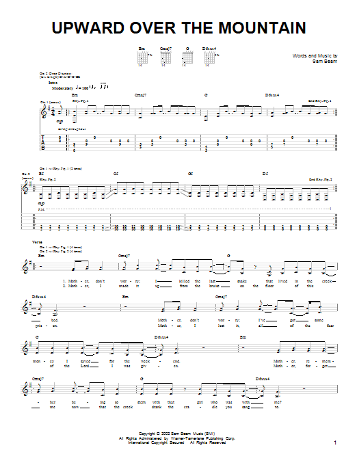Tablature guitare Upward Over The Mountain de Iron & Wine - Tablature guitare facile