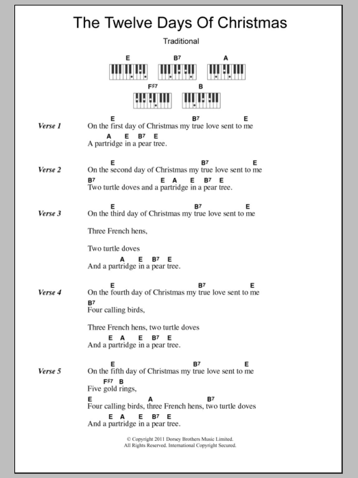 the twelve days of christmas sheet music