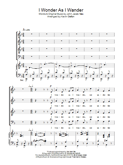 I Wonder As I Wander by Carl Rütti SATB Choir Digital Sheet Music