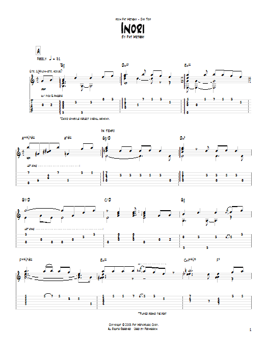 Tablature guitare Inori de Pat Metheny - Tablature Guitare