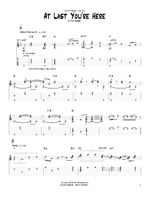 Tablature guitare At Last You're Here de Pat Metheny - Tablature Guitare