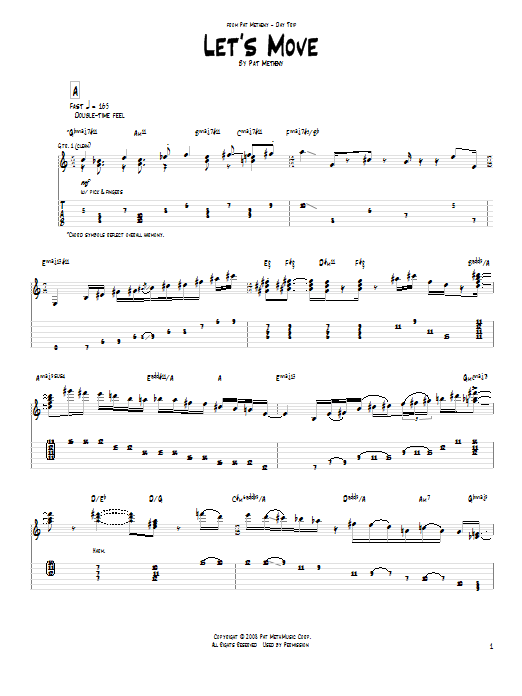 Tablature guitare Let's Move de Pat Metheny - Tablature Guitare
