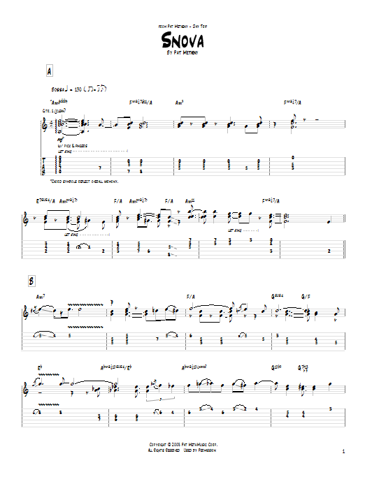 Tablature guitare Snova de Pat Metheny - Tablature Guitare