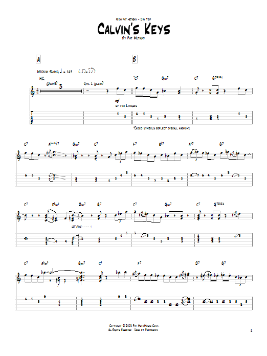 Tablature guitare Calvin's Keys de Pat Metheny - Tablature Guitare