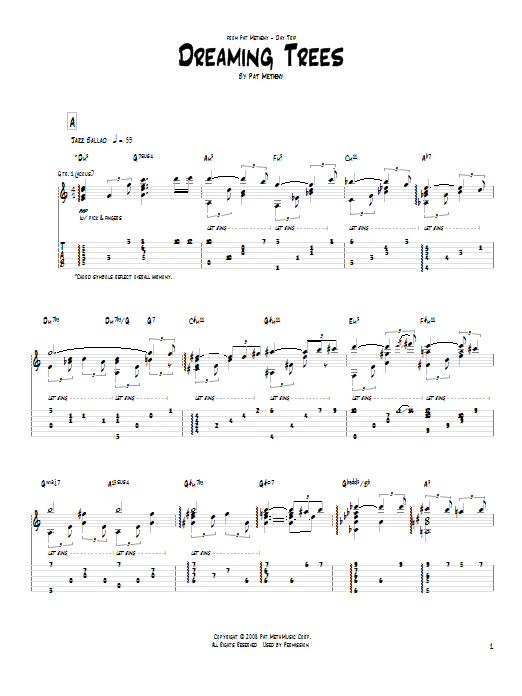 Dreaming Trees Sheet Music