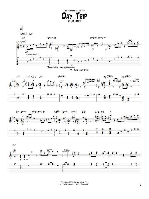 Tablature guitare Day Trip de Pat Metheny - Tablature Guitare