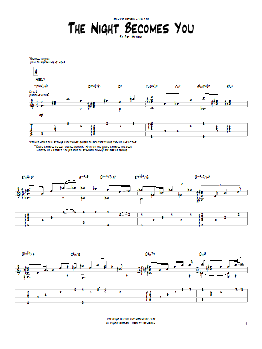 Tablature guitare The Night Becomes You de Pat Metheny - Tablature Guitare