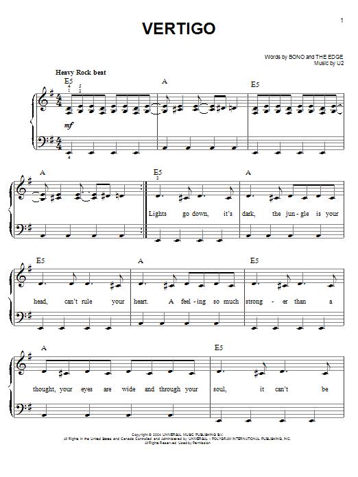 Partition piano Vertigo de U2 - Piano Facile
