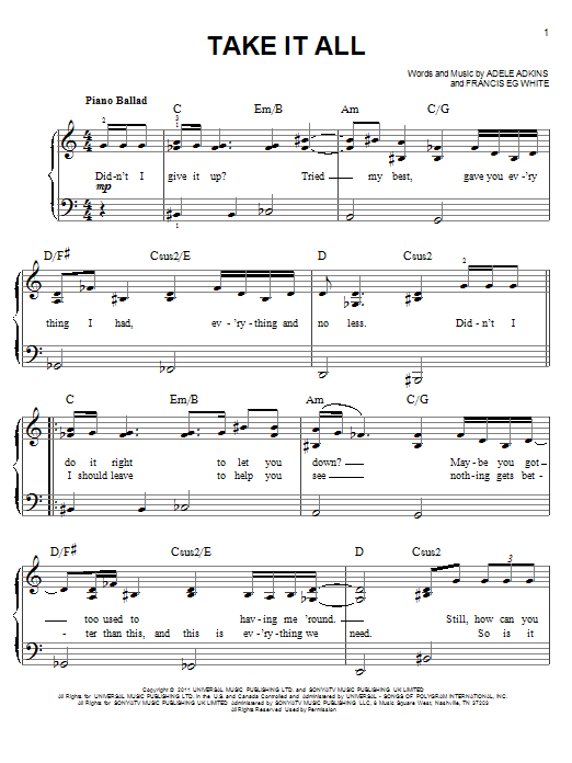 Take It All Sheet Music