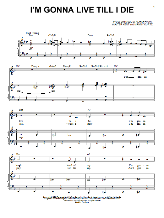 I'm Gonna Live Till I Die Sheet Music