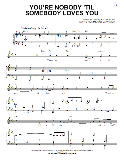 You're Nobody 'Til Somebody Loves You Sheet Music