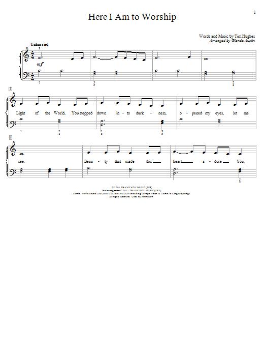Here I Am To Worship (arr. Glenda Austin) (Educational Piano)
