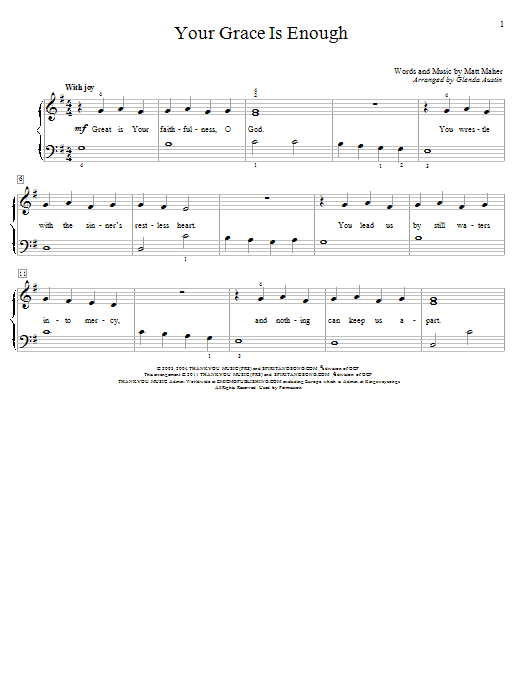 Your Grace Is Enough (Educational Piano)