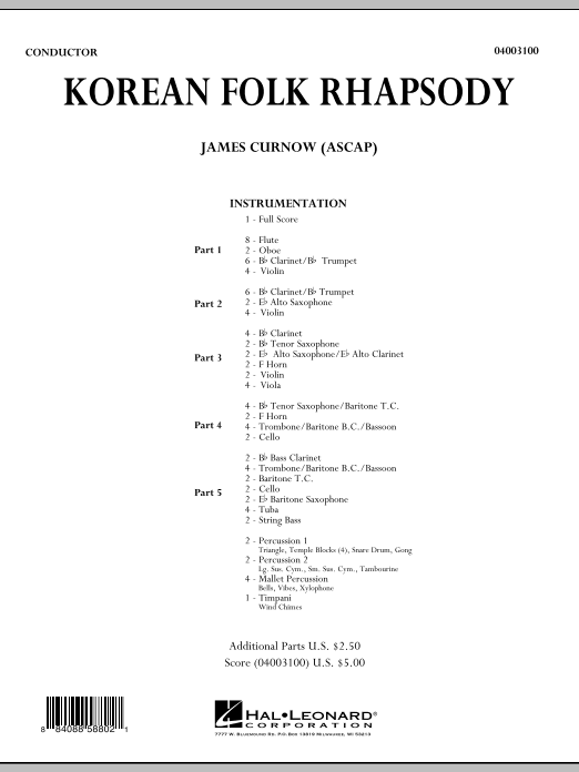Korean Folk Rhapsody (COMPLETE) sheet music for concert band by James Curnow. Score Image Preview.