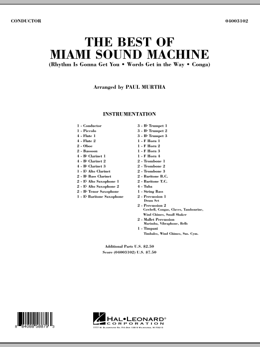 The Best Of Miami Sound Machine (COMPLETE) sheet music for concert band by Paul Murtha, Gloria Estefan and Miami Sound Machine. Score Image Preview.