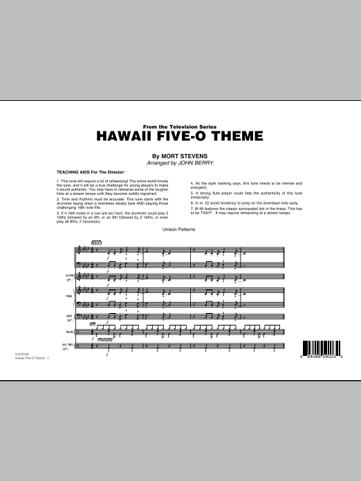 Hawaii Five-O Theme (COMPLETE) sheet music for jazz band by John Berry and The Ventures. Score Image Preview.