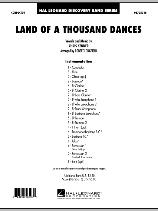 Land Of A Thousand Dances (COMPLETE) sheet music for concert band by Robert Longfield, Chris Kenner and Wilson Picket. Score Image Preview.