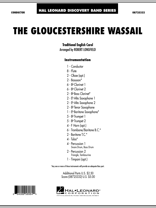 The Gloucestershire Wassail (COMPLETE) sheet music for concert band by Robert Longfield. Score Image Preview.