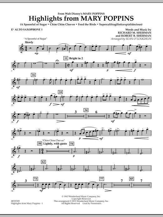Highlights from Mary Poppins - Eb Alto Saxophone 1 (Concert Band)