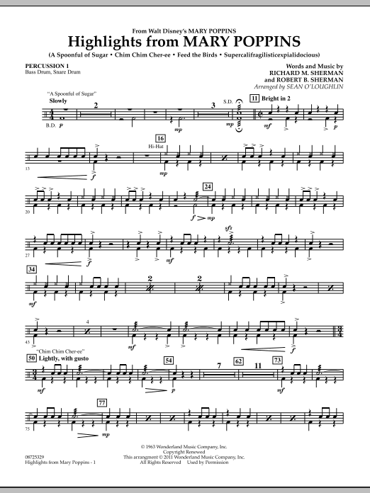 Highlights from Mary Poppins - Percussion 1 (Concert Band)
