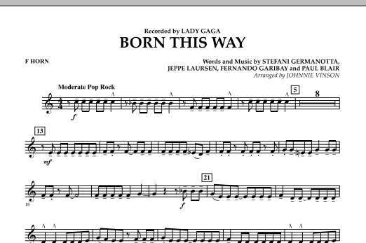 Born This Way - F Horn Sheet Music