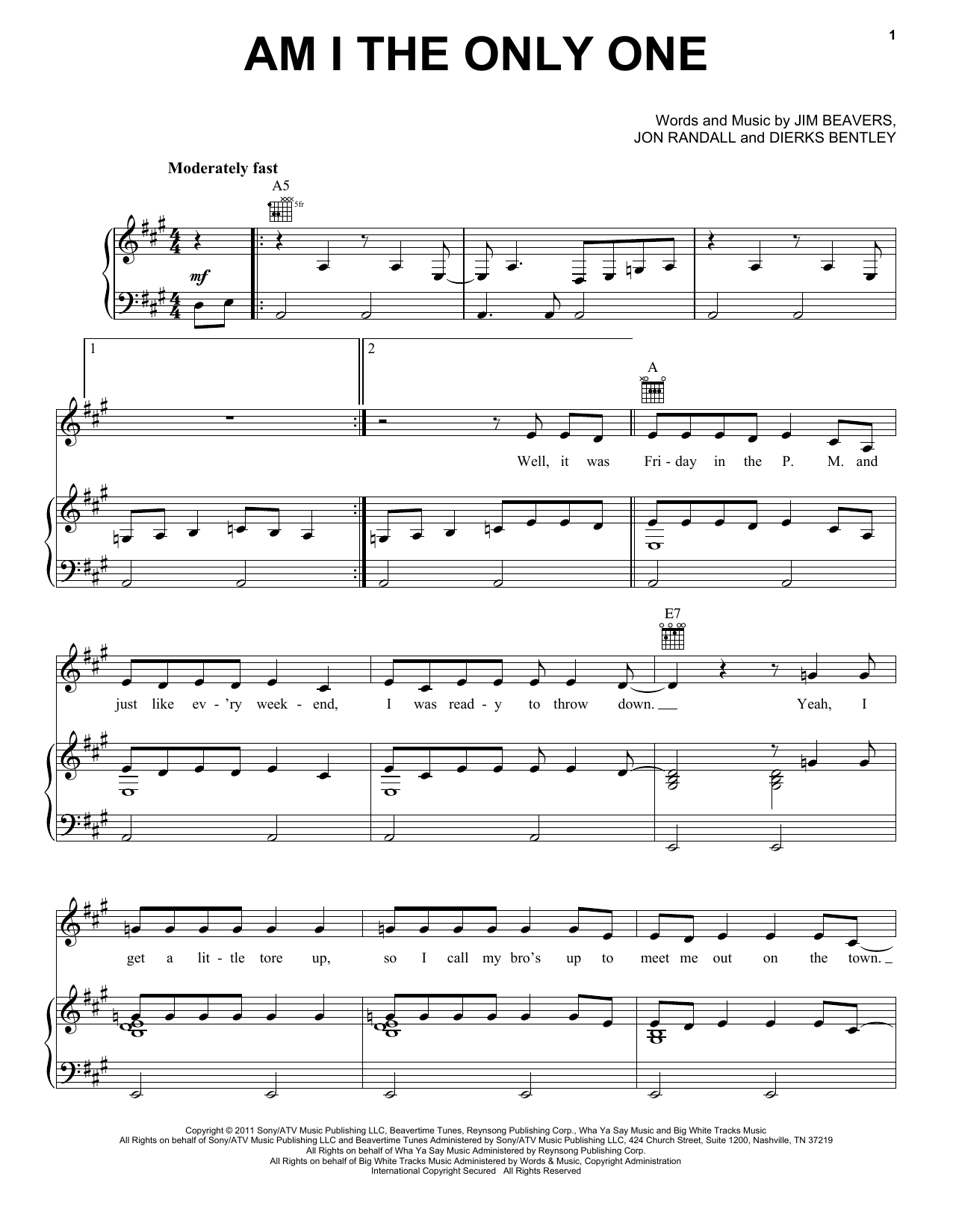 Am I The Only One Sheet Music