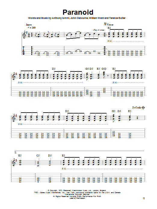 Tablature guitare Paranoid de Black Sabbath - Tablature Guitare